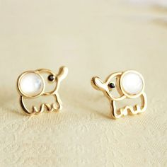 White Opal Lovely Elephant Earrings Studs|Womens Accessories - ByGoods.com