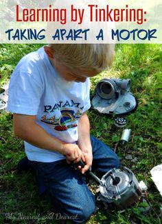Learn by tinkering. Take apart an old motor. #STEM