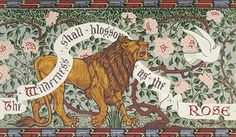 Walter Crane's Lion and Dove produced as a wallpaper frieze by Bradbury & Bradbury #bradburywallpaper