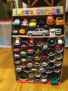 cardboard storage solutionfor jakes toy cars