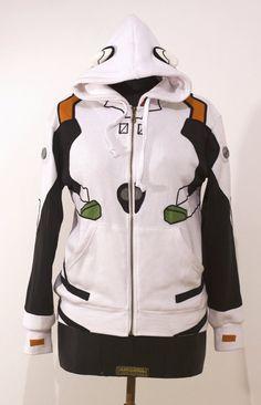 OTAKool: Hooded full zip sweatshirt inspired by REI AYANAMI's plugsuit from Neon Genesis Evangelion. Made on demand!