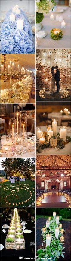 Romantic Candle Wedding Reception Decor Ideas / http://www.deerpearlflowers.com/wedding-ideas-using-candles/