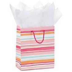 "Pink Stripes Small Gift Bag With Tissue Paper, 6.5"","