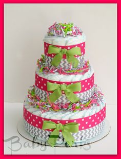 Baby Girl Diaper Cake pink and grey  baby shower by MsPerks, $50.99