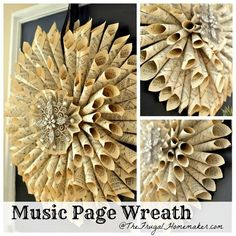 Vintage Music Page Wreath made with an old music book or hymnal - TheFrugalHomemaker.com