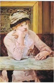 <마네_자두> 카페에서 누군가를 기다리는 듯한 여인의 모습을 표현한 작품이다. 지루해보이는 듯한 여인의 감정을 잘 담아 내었다.