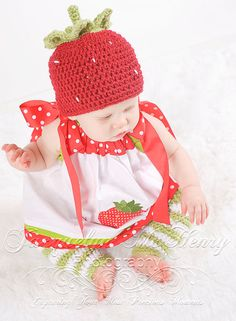 Little Miss Strawberry Beanie in Red Green by mamamegsyarnshoppe, $36.00