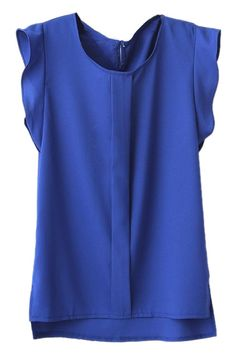Blue Puff Sleeve Split Chiffon Blouse