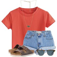 A fashion look from April 2017 by flroasburn featuring Birkenstock, Kendra Scott, Ray-Ban and Levi's Cute Lazy Outfits, Teenage Outfits, Teen Fashion Outfits, College Outfits, Simple Outfits, Outfits For Teens, Trendy Outfits, School Outfits, Fashion Fashion