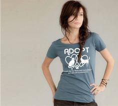 Cat shirt / Dog shirt / Womens Adopt tshirt Organic Cotton tee Cat Dog Lover / animal rescue / summer fashion / pets $25