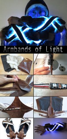 Cosplay Ideas Add some KAPOW to your Halloween costume! - When you're creating illuminated costumes, there's no better diffuser for LEDs than faux fur. It really distributes light evenly and hides the hot spots from indi. Cosplay Armor, Cosplay Anime, Cosplay Diy, Halloween Cosplay, Halloween Costumes, Pirate Costumes, Halloween Halloween, Larp, Instruções Origami