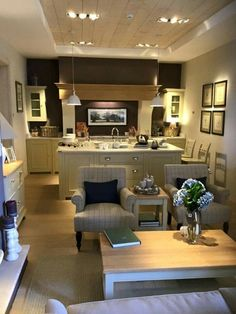 Open Plan Kitchen Dining Living Small Apartments Can Be Fun For Everyone 22 Open Plan Kitchen Dining Living, Living Room Kitchen, Kitchen On A Budget, Open Plan Apartment, Garage To Living Space, Rustic Home Design, Lounge Design, Farmhouse Style Kitchen, Home And Deco