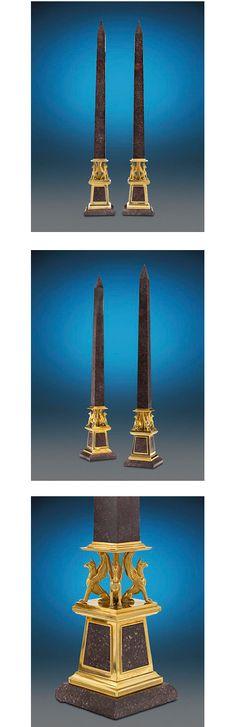 "Imperial Porphyry Obelisks, circa 1805 - Dim: 40 1/4"" high x 6 1/4"" wide x 6 1/4"" deep."