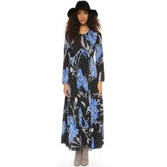 Free People First Kiss Printed Maxi Dress ($105) ❤ liked on Polyvore featuring dresses, botanical night, free people, maxi dress, flower print maxi dress, floral print dress and long sleeve floral dress