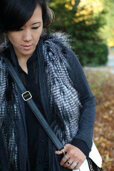 black sheer zipper blouse, faux fur vest,