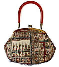 Moroccan Purse Tapestry Lucite Handle Handbag Ingber USA by EclecticVintager on Etsy