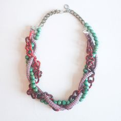 Chunky Necklace Fibre Statement Necklace Red Green by sanwaitsai