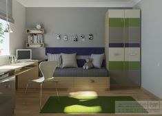 habitacion juvenil verde 1 500x360 Habitaciones Juveniles de Studio Cafe