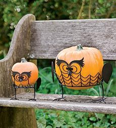 "Give your Halloween pumpkins the faces of jack-o'-lanterns - without any carving! Simply set them into our silly Owl Pumpkin Holder Stands and place them on the porch, walkway, deck, or even indoors.    • Decorate pumpkins without the mess of carving  • Set of two: one large and one small  • Metal tubing ""bowls"" and legs keep pumpkins from rolling"