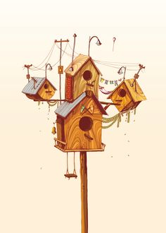 Selected work by South Africa-based illustrators Megan Bird and Lizanne Visser alson known as Driehoek illustration collective. House Illustration, Nature Illustration, Graphic Design Illustration, Art Illustrations, Environment Concept Art, Design Graphique, Cute Images, Bird Houses, Book Art