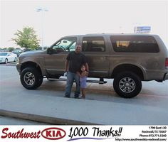Happy Anniversary to Rosendo Alfaro on your 2004 Ford Truck Excursion from Teresa Toombs and everyone at Southwest KIA Rockwall!