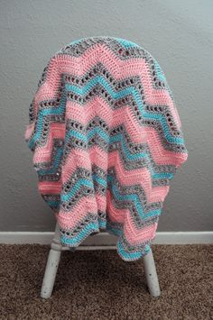 Crochet Baby Blanket Girl Pink Blue and by TraedensTradingShop