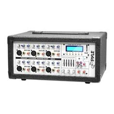 PylePro (PMX602M) 6-Channel 600 Watt Powered PA Mixer/Amplifier with Audio Line (3.5mm) Input, USB/SD Card Readers & LCD Display