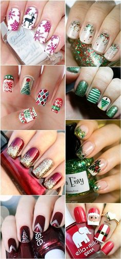 Image christmas nail art designs - click the picture to see them all!Image viaChristmas Nail Art Design Ideas I don't care for the sn Xmas Nails, Christmas Nails, Diy Nails, Nail Nail, Nail Polish, Christmas 2017, Winter Christmas, Christmas Nail Stickers, Christmas Ideas
