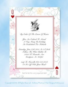 Free Alice in Wonderland printable invitation. Free template download. Illustrator file or download the fillable pdf