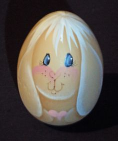 Beautiful Handpainted Wooden Easter Bunny Egg