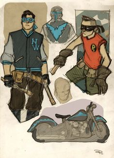 Nightwing and Robin Rockabilly by ~DenisM79 on deviantART