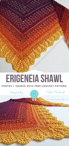 Crochet Dresses Erigeneia Shawl Free Crochet Pattern - Erigeneia Shawl showcases what is the most beautiful about triangle squares. Amazing colours go from deep purple to bright yellow in ombre. Lines are meeting at Beau Crochet, Crochet Shawl Free, Crochet Shawls And Wraps, Crochet Motifs, Crochet Scarves, Crochet Stitches, Crochet Hats, Crochet Dresses, Crochet Shawl Diagram