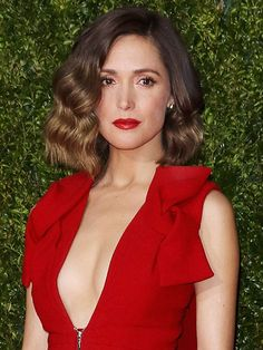 GLAM WAVES - Rose Byrne For these Jessica Rabbit–style waves, you'll need a set of hot rollers. Wrap three-inch sections of hair around them, then let them sit for a while until they cool completely. When you remove the rollers, you can brush out your curls—the key step here—without having them deflate. Finish with a fine mist of hair spray.
