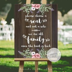 Wedding signs for seating wedding signage by HandsInTheAttic