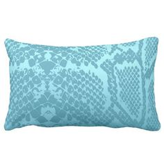 Contemporary Aquamarine Pastel Snake Python Skin Throw Cushion