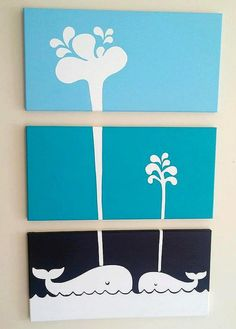 Items similar to Hand Painted Whales On Canvas on Etsy Mini Canvas Art, Diy Canvas, Canvas Art Quotes, Kids Room Paint, Baby Art, House Painting, Nursery Art, Art Projects, Hand Painted