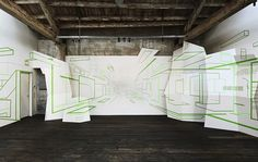 Damien Gilley [Multidisciplinary artist] / Illusions of Space Created with Colorful Tape