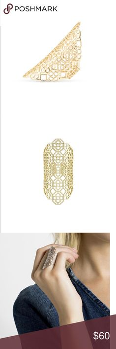 Kendra Scott Boone ring Kendra Scott Boone cocktail ring in gold with the filigree design and an adjustable back! Never worn! Kendra Scott Jewelry Rings