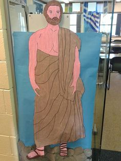 Ancient Greeks guarding the classroom, drew the outline and then the children painted him :)
