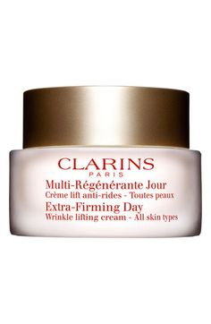 Clarins 'Extra-Firming' Day Wrinkle Lifting Cream for All Skin Types available at Nordstrom. The #1 selling face cream in Europe for the last 15 years. Will firm and lift the skin.