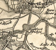Section of Ordnance Survey map of 1843 showing Watling Street crossing River Mersey at Stretford.