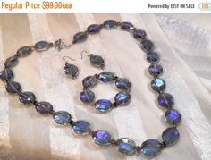SALE 20% OFF Amethyst Crystal Parure Necklace Bracelet & Earrings Set in Faceted Crystals and Cathedral Beads