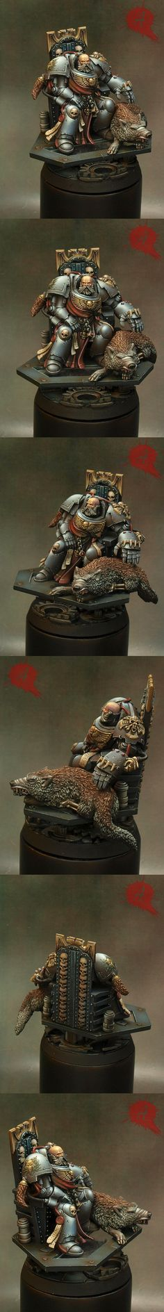 Space wolf Lord    This is a mod of the Space Hulk dead terminator objective marker. It's painted miniatures like these that make one realize: it is not the color scheme,  it is the execution of those colours that make everything stands apart. Amazing.