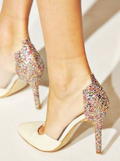 nude + rainbow glitter heels. business in the front, party in the back?