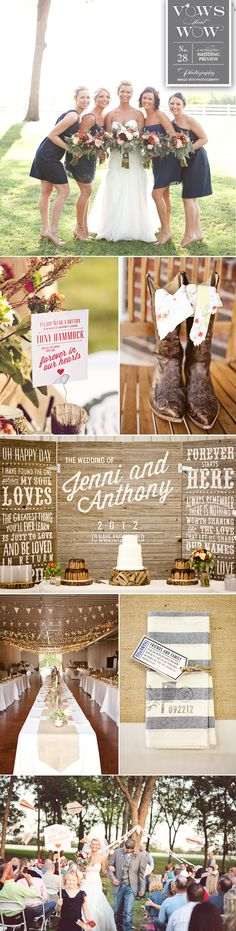Oh how we love Jenni and Anthony's adorable ranch wedding! We love all the paper details and custom wooden backdrop. Photos by Imago Vita Photography.