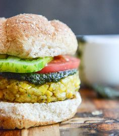 end of summer bean burgers with grilled corn + pesto