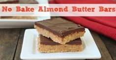 No Bake Almond Butter Bars are the perfect healthy dessert. And they are high in protein!