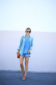 12 Ways to Style Chambray: To rock an almost-Canadian tuxedo #theeverygirl #blue #beach #style