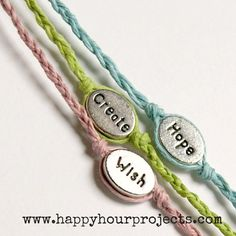 I've been having so much fun with simple woven bracelets,everyone seems to be enjoying them –so I thought I'd show you another woven bracelet idea. If you picked up the supplies to try either version of the wish bracelettutorial,here's another way to use the hemp cord you probably still have a lot of. :) Put …