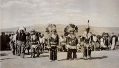 Comanche dance (Laguna) at Plaza Santa Maria Mission, Laguna Pueblo, New Mexico, 1936